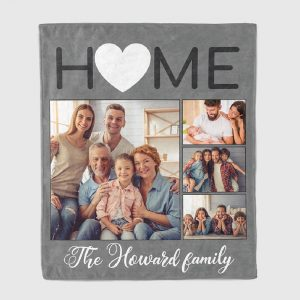 home photo collage blanket