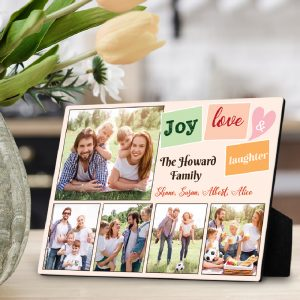 joy love laughter custom desktop plaque family gift