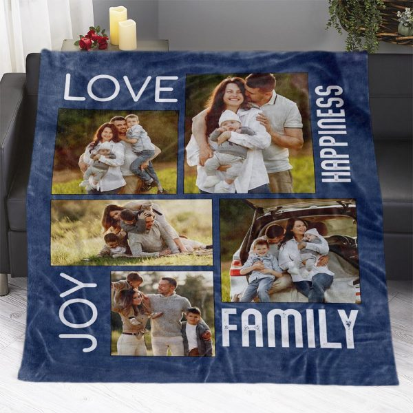 A Photo Collage Blanket With The Words Love, Joy, Happiness, Family