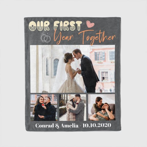 Our First Year Together Custom Photo Anniversary Blanket