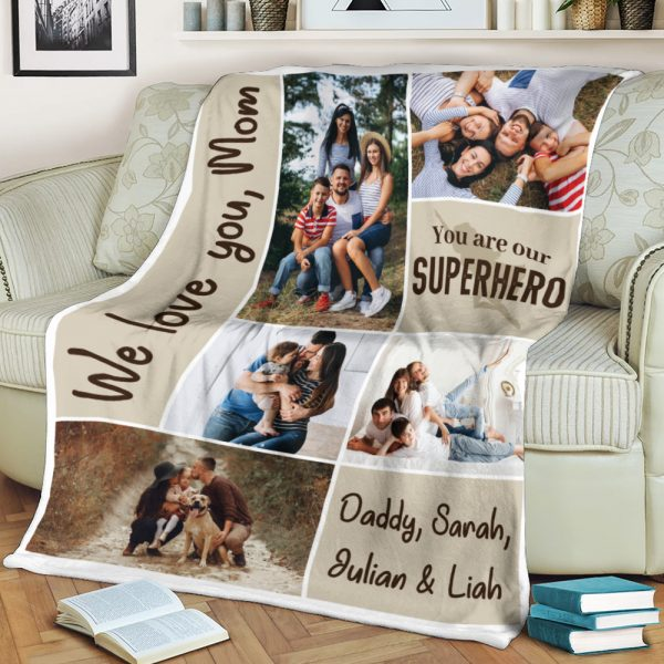 """""""We Love You Mom, You Are Our Hero"""" Custom Photo Collage Blanket"""