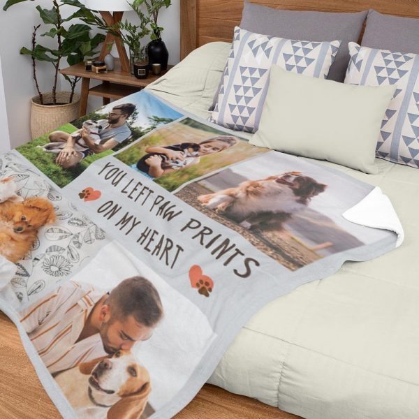 You Left Paw Prints On My Heart Custom Photo Blanket