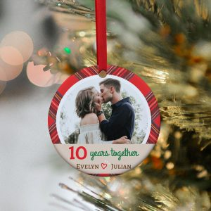 10 Years Together Custom Photo And Name Ornament