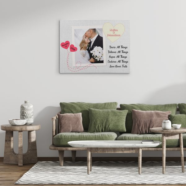 """decor your house by """"Love Bears All Things, Believes All Things, Hopes All Things, Endures All Things"""" Photo Canvas Print"""