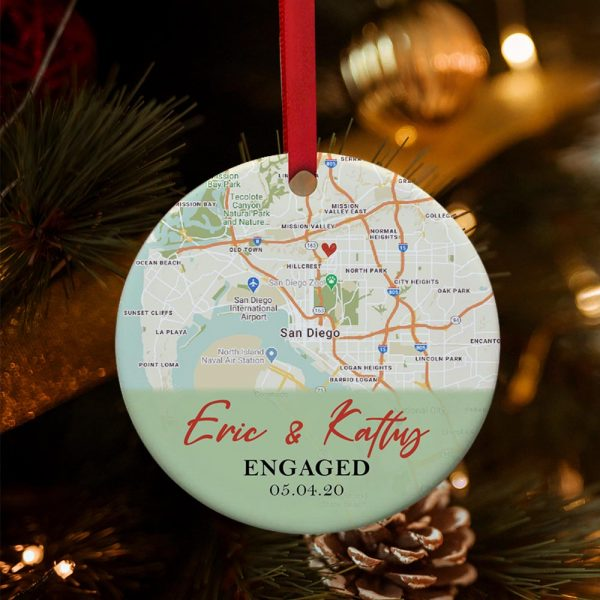 Custom Map Engagement Ornament