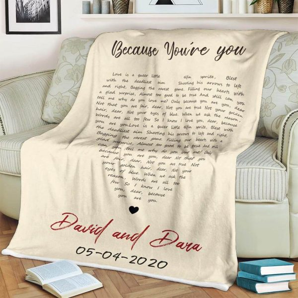 Heart-Shaped Custom Song Lyrics Blanket