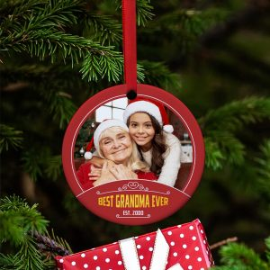 Best Grandma Ever custom photo ornament