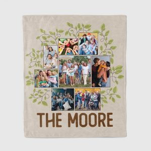 photo collage family tree personalized throw blanket