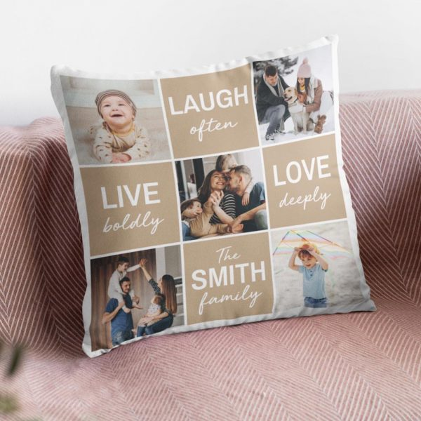 Live Love Laugh personalized family photo pillow