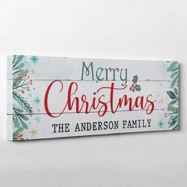 Merry Christmas Canvas Sign With Custom Family Name