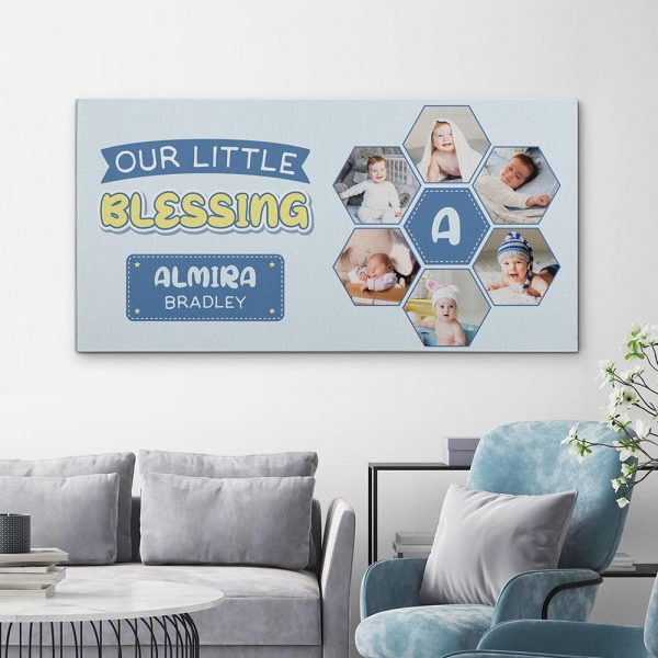 Our Little Blessing Custom Baby Photo Canvas Print