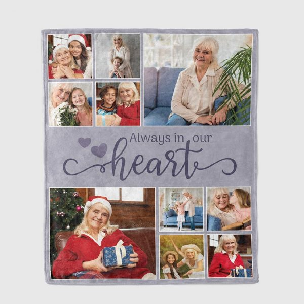 Always In Our Heart Custom Photo Collage Blanket