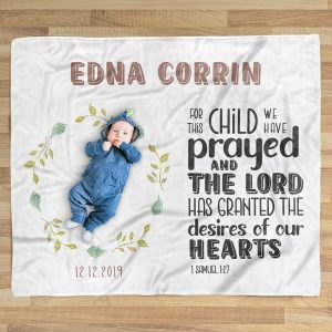 For This Child We Have Prayed Custom Name Blanket