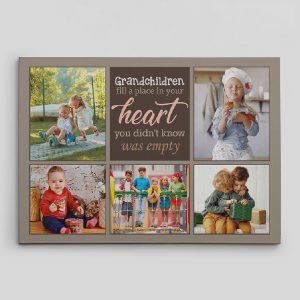 grandchildren fill a place in your heart custom photo canvas print - gifts for grandparents