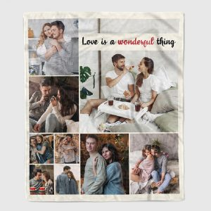 a photo collage blanket with the quote love is a wonderful thing