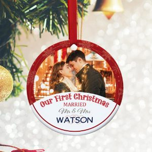 First Christmas Married Custom Photo Ornament