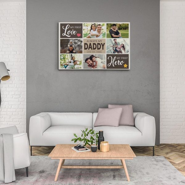 My First Love My First Hero Custom Photo Collage Canvas Print