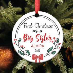 Personalized Big Sister's First Christmas Ornament
