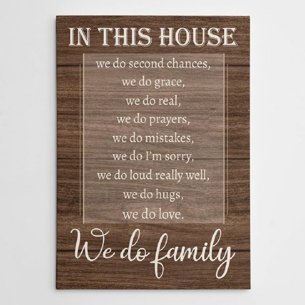 In This House We Do Second Chances - Family Canvas Print