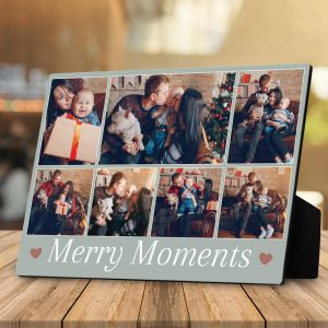 merry moments custom photo collage desktop plaque