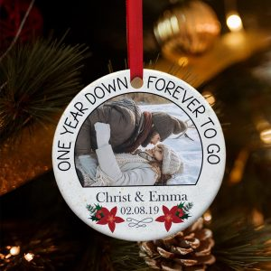 One Year Down Forever To Go Custom Photo Ornament