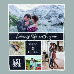 Loving Life With You Custom Photo Collage Blanket