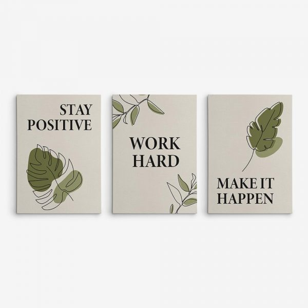 stay positive work hard make it happen multi panel canvas prints