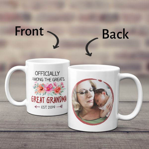 Officially Among The Greats Great Grandma Custom Photo Mug