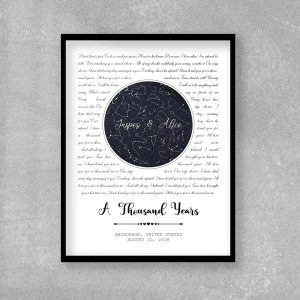 Custom Star Map And Song Lyrics Framed Print