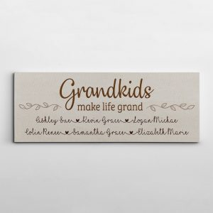 Grandkids Make Life Grand Canvas Print With Custom Grandchildren Names