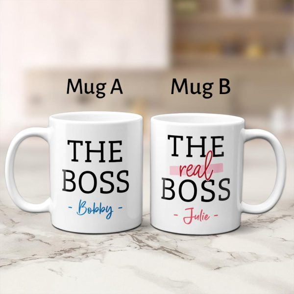 personalized couple mugs with the words The Boss & The Real Boss