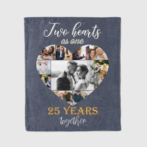 Two Hearts As One Photo Collage 25th Anniversary Blanket
