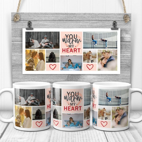 You warm my heart custom photo mug