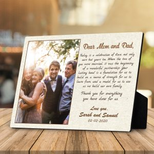 Dear Mom And Dad Custom Photo Desktop Plaque