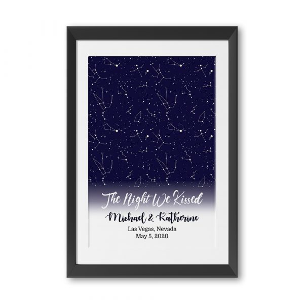 The Night We Kissed Custom Star Map Framed and Matted Print