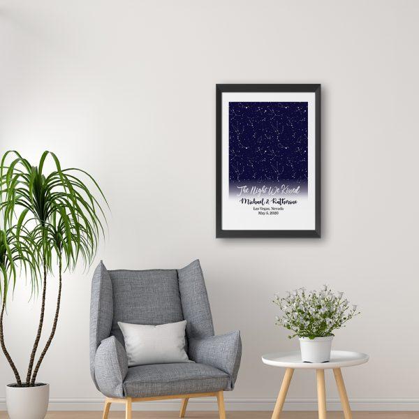 The Night We Kissed Custom Star Map Framed Print Hanging On The Wall