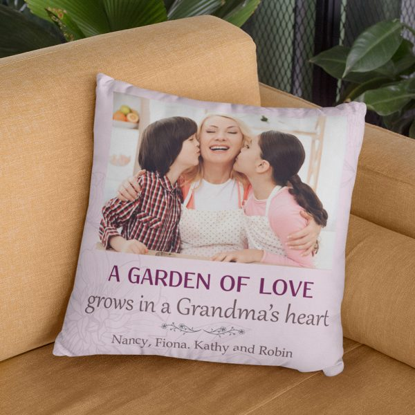 A Garden Of Love Grows In A Grandma Heart Custom Photo Pillow