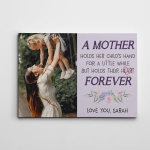 A Mother Holds Her Child's Hand Heart Forever Custom Photo Canvas Print
