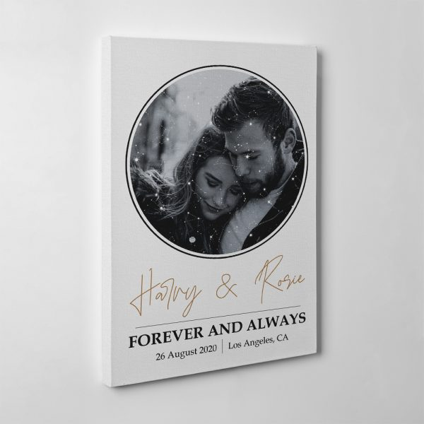 Forever And Always Custom Photo And Star Map Canvas Print