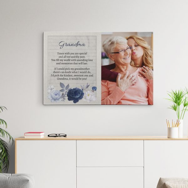 Grandma Times With You Are Special Photo Canvas Print with Sweet Poem