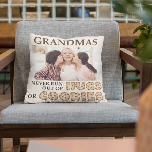 Grandmas Never Run Out Of Hugs Or Cookies custom photo pillow