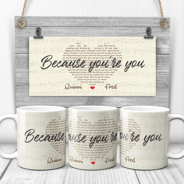 Heart-shaped Custom Song Lyrics Mug