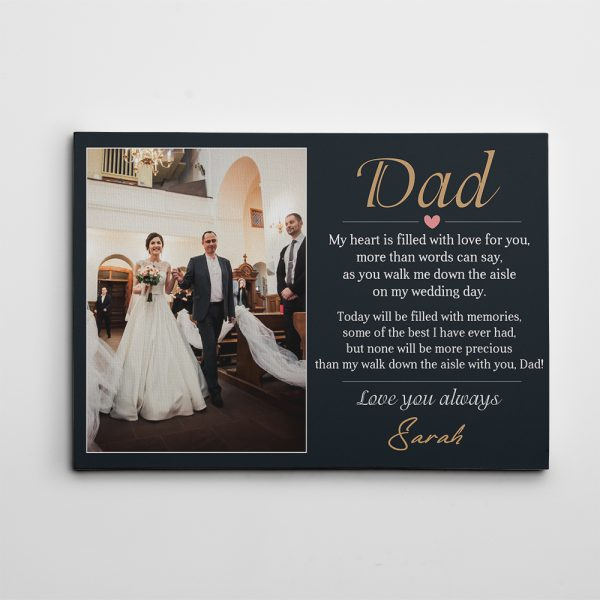 My Walk With Dad Poem Custom Canvas Print - wedding gift for father of the bride