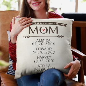 My Greatest Blessing Call Me Mom Custom Name Pillow