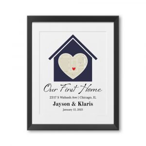 """Our First Home"" Custom Map Framed Print"