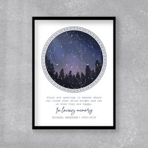 In Loving Memory Constellatio Custom Star Map Art Print