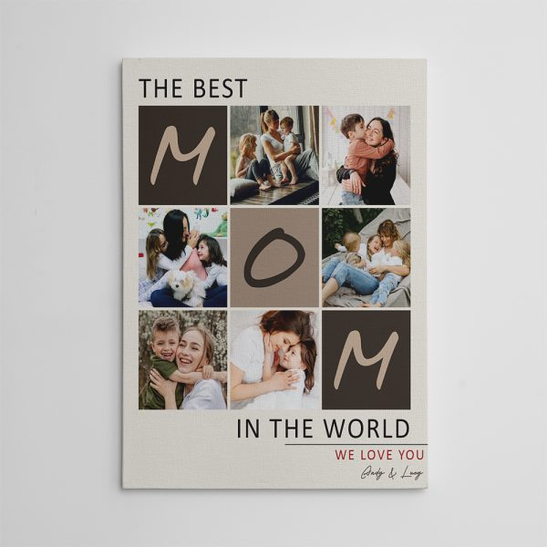 The Best Mom In The World custom photo canvas print