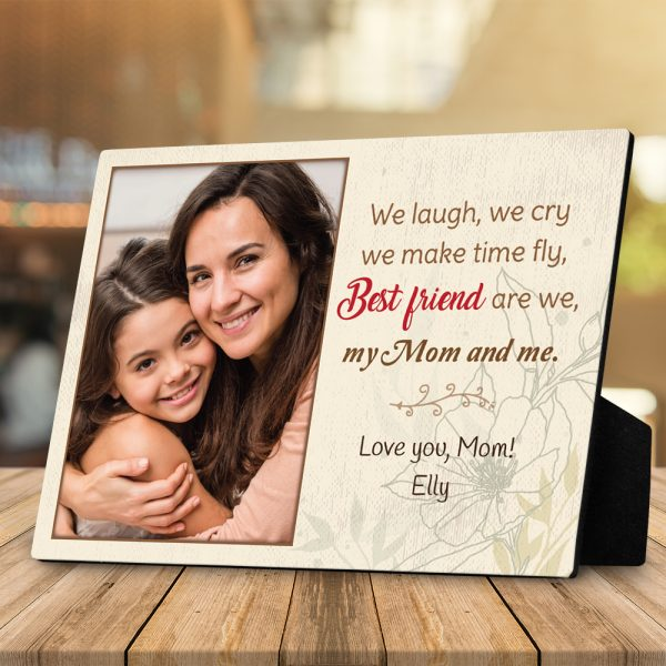 we laugh we cry we make time fly custom photo plaque - gift for mom
