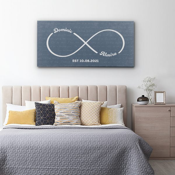 Personalized Infinity Symbol Canvas Print With Song Lyrics Hanging In Bedroom