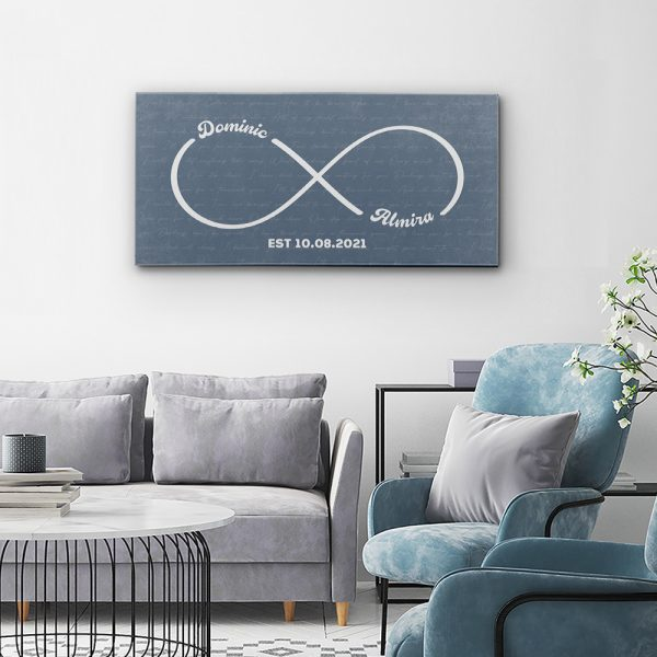 Personalized Infinity Symbol Canvas Print With Song Lyrics Hanging In Living Room
